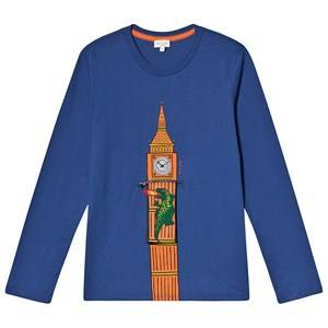 Paul Smith Junior Big Ben Print Interactive Long Sleeve Tee Blue 2 years