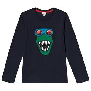 Paul Smith Junior Dino Print Interactive Long Sleeve Tee Navy 2 years