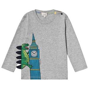 Paul Smith Junior Big Ben Dino Print Long Sleeve Tee Grey Marl 12 months