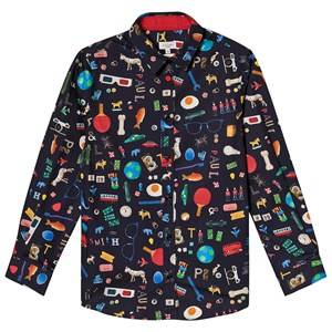 Paul Smith Junior Object Print Shirt Navy 2 years