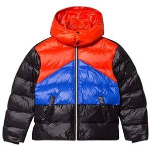 Diesel Color Block Puffer Jacket Black, Blue and Red 14 years