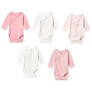 Image of Petit Bateau 5-Pack Long Sleeve Baby Bodies Marshmallow White/Light Pink 12 Months