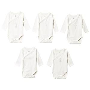 Image of Petit Bateau 5-Pack Long Sleeve Baby Bodies Marshmallow White 6 Months