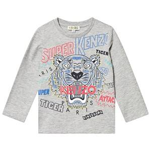 Kenzo Tiger Long Sleeve Tee Marl Grey 3 years