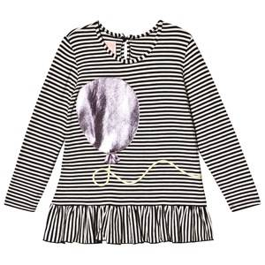 Wauw Capow Ella Balloony Top Black/White Stripes 5-6 Years