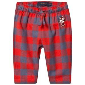 Tinycottons Small Check Cat Pants Burgundy/Dark Lilac 18 Months