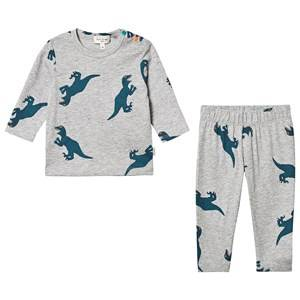 Paul Smith Junior Dino Print Pajama Set Grey Melange Pyjamas
