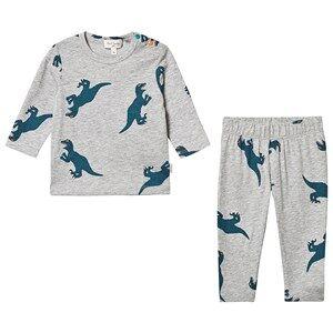 Paul Smith Junior Dino Print Pajama Set Grey Melange Pyjamas
