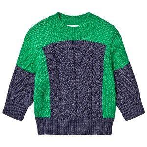 Stella McCartney Kids Color Block Braid Stitching Knit Jumper Navy/Green 6 years