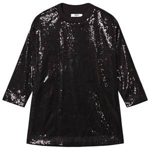Image of MSGM Black All Over Sequin Dress with Logo Back 14 years