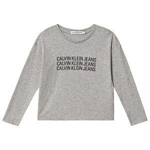 Image of Calvin Klein Jeans Triple Logo Long Sleeve Tee Grey/Black 14 years
