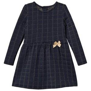 Image of Absorba Navy and Gold Check Bow Detail Dress 6 months
