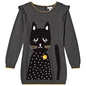 Absorba Pom Pom Cat Knitted Jumper Dress Grey 9 months