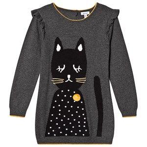 Absorba Pom Pom Cat Knitted Jumper Dress Grey 12 months