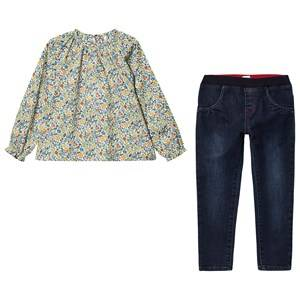Absorba 2-Piece Set Floral Liberty Print Blouse with Denim Pull Ups 9 months