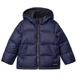 Image of Calvin Klein Jeans Branded Puffer Jacket Navy 8 years