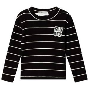 Image of Sproet & Sprout Stripe Ribbed MEOW Long Sleeve Top Black/White 86-92 (18-24 months)