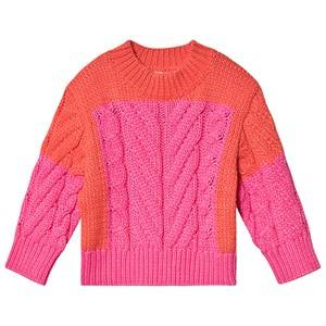 Stella McCartney Kids Color Block Knit Sweater Pink/Red 12 years