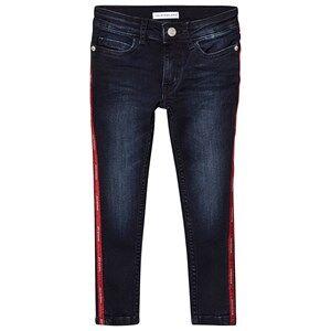 Image of Calvin Klein Jeans Skinny Tape Logo Jeans Dark Wash 12 years
