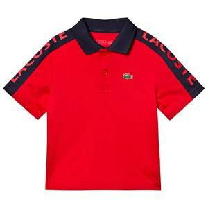 Lacoste Branded Dry Tech Tennis Polo Shirt Red/Navy 10 years