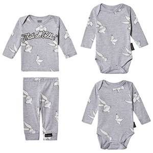 Image of Eleven Paris Looney Tunes Tee, Baby Body, Leggings and Bag Set Grey 12 months