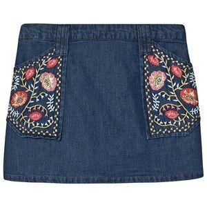 Velveteen Rhea Embroidered Skirt Blue Denim 6 years