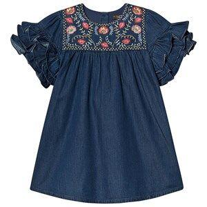 Image of Velveteen Embroidered Ruffle Sleeve Ginny Dress Denim 6 years