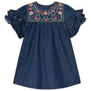 Image of Velveteen Embroidered Ruffle Sleeve Ginny Dress Denim 5 years