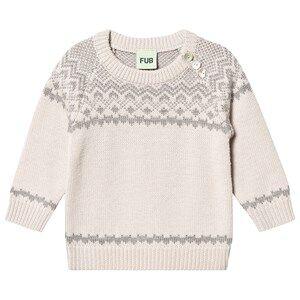 FUB Baby Nordic Sweater Ecru/Light Grey 74 cm (6-9 Months)