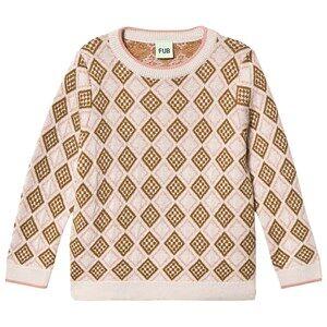FUB Cubic Sweater Ecru/Blush/Sienna 90 cm (1,5-2 Years)