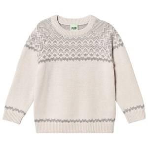 FUB Nordic Sweater Ecru/Light Grey 100 cm (3-4 Years)