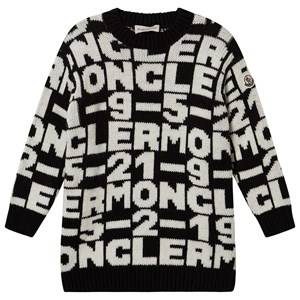Moncler Jacquard Logo Knit Dress Black and White 12 years