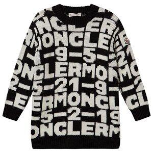 Moncler Jacquard Logo Knit Dress Black and White 4 years