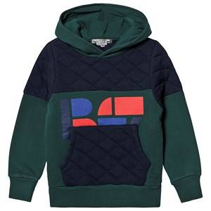 Bonpoint Quilted Logo Hoodie Green/Navy 8 years