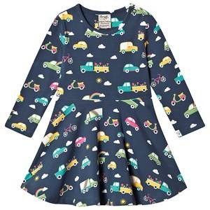 Frugi Sofia Skater Dress Space Blue Rainbow Roads 6-12 months