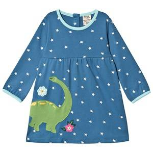 Frugi Dolcie Dress Steely Blue Star/Dino 12-18 months