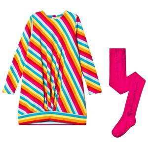 Agatha Ruiz de la Prada Glitter Gathered Sweat Dress and Tights Set Multi/Pink 12 months