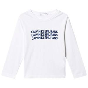 Image of Calvin Klein Jeans Triple Logo Tee White and Blue 6 years