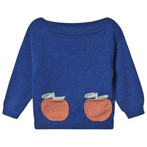Oeuf Clementine Sweater Electric Blue and Apricot 12 Months