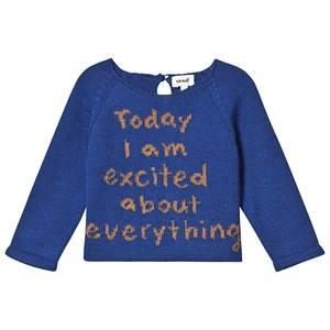 Oeuf Excited Sweater Electric Blue and Ochre 8 Years