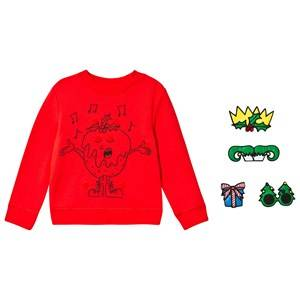 Stella McCartney Kids Sweater with X-Mas Print and Badges Red 4 years