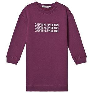 Image of Calvin Klein Jeans Triple Logo Sweat Dress Purple 8 years