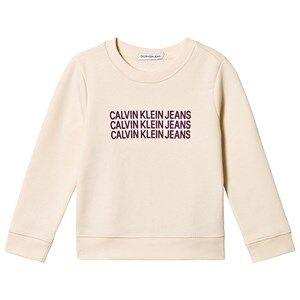 Image of Calvin Klein Jeans Triple Logo Sweater Cream 4 years
