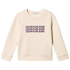 Image of Calvin Klein Jeans Triple Logo Sweater Cream 10 years