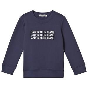 Image of Calvin Klein Jeans Triple Logo Sweater Navy 10 years