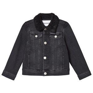 Image of Calvin Klein Jeans Teddy Collar Denim Jacket Black 6 years