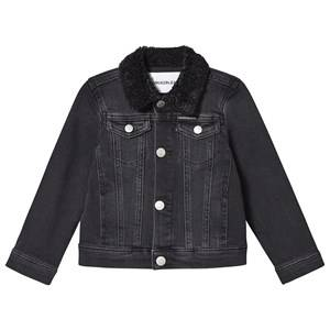 Image of Calvin Klein Jeans Teddy Collar Denim Jacket Black 4 years