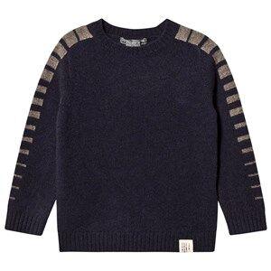 Bonpoint Stripe Sleeve Wool Sweater Navy 14 years