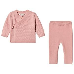 Image of Bonpoint Cashmere Knit Cardigan and Leggings Set Pink 6 months