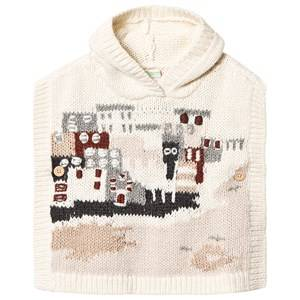 Bonpoint Seaside Scene Wool Poncho Cream T1 (6-12 months)